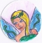 My older daughter's beautiful interpretation of a sea nymph.  This button was very popular with little girls.